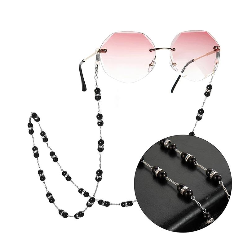 Eyeglasses Rope Strap Black Beads Sunglasses Glasses Chain Crystal Jewelry Lanyard Cord Hanging Necklace