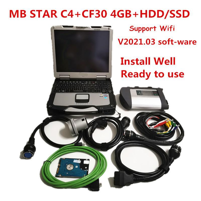 2021 Ferramenta de diagnóstico Auto C4 de Chip Full MB com V2021.03 HDD mais recente de soft-ware com CF30 4G Laptop para Programação de diagnóstico MB com WiFi