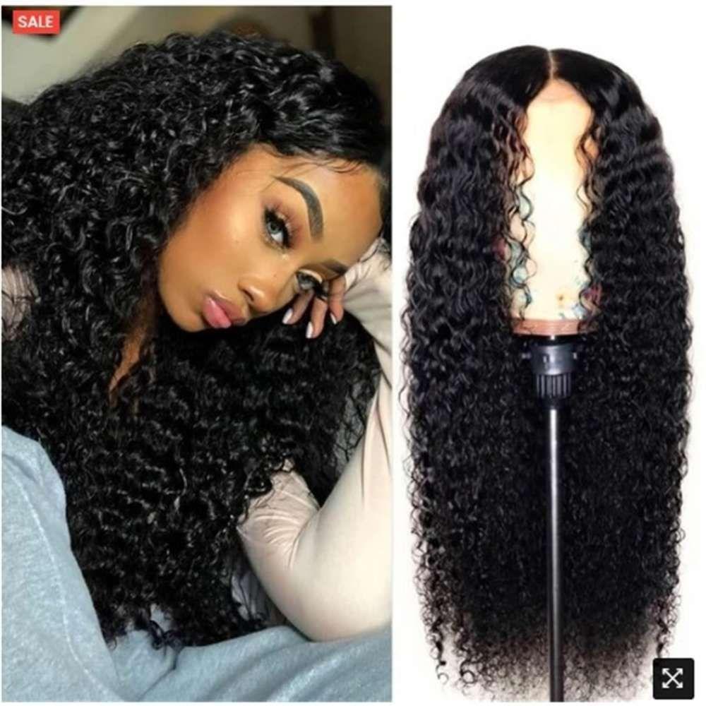 Perücke Damen mittlerer Teil Mais Perm Long Courly Hair Hochtemperatur Silk Head Cover Haar Perücken