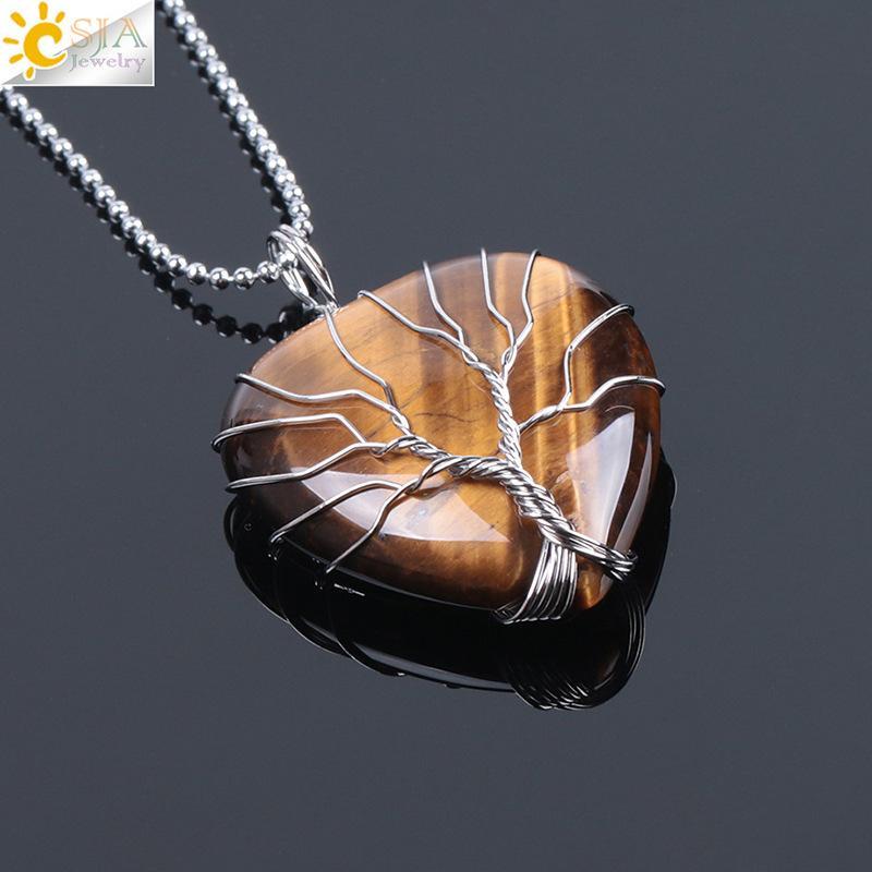 CSJA Tree of Life Wire Shapped Love Heart Necklace Colgante Suspensión Natural Gem Stone Tiger Eye Pink Cuarzo Negro 1671 V2