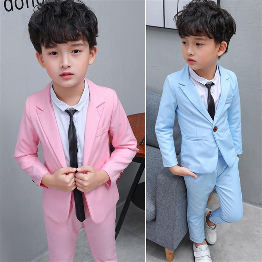 Children Fomal Suits Set Spring Autumn Boys Slim Blazer Pants Dress Clothes Baby Kids Performance Party Costume