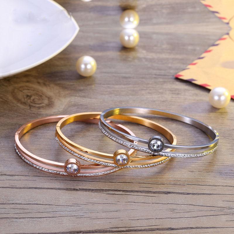 Bangle Fashion Jewelry, Zircon Bracelet, Rose Gold Titanium Bracelet Jewelry Wholesale, Couples Style