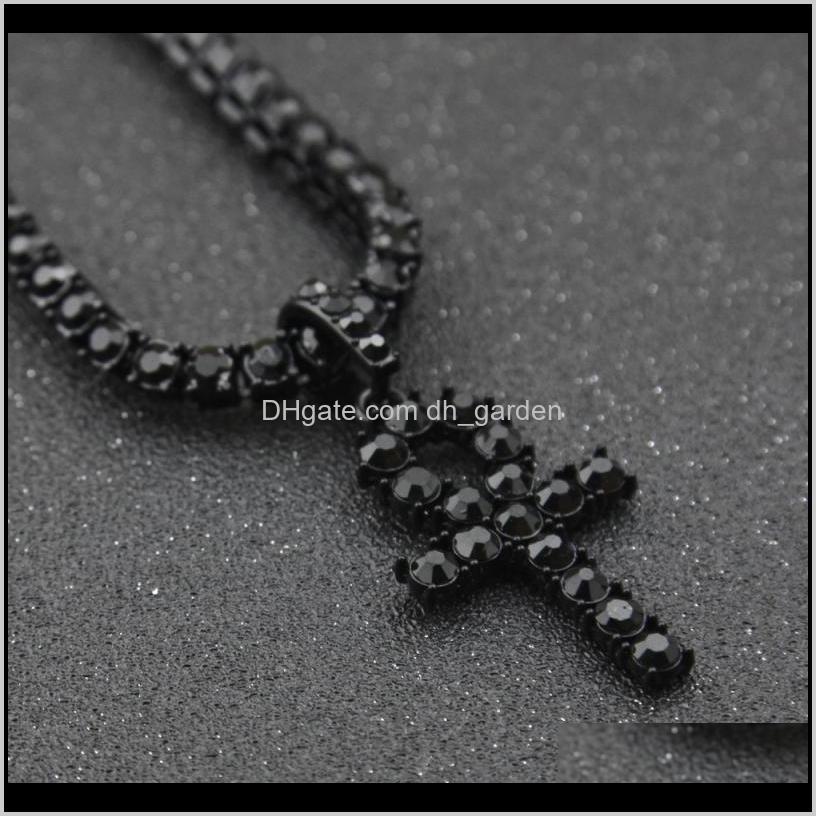 Ожерелья хип-хоп Party Party Party Party Ana Cross подвеска Bling CZ камни ожерелье ювелирные изделия для мужчин и женщин EIYRM 4W0EG