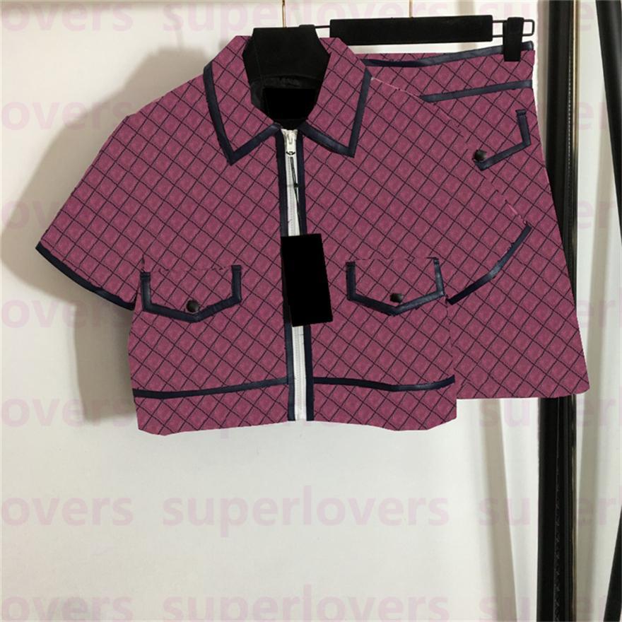 빈티지 편지 자카드 정장 Womens 패션 자켓 스커트 세트 새로운 도착 가을 반팔 탑스 드레스 3 색