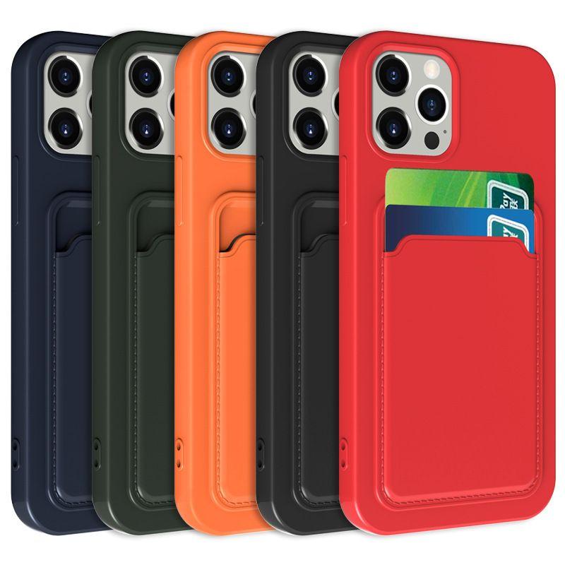 Para iPhone 13 12 Casos Mini 11 Pro XR XS máx x 6s 7 8 Plus TPU Silicone Soft Silicone Telefone celular Matte Slim capa luxo com slots de saco de cartão de crédito