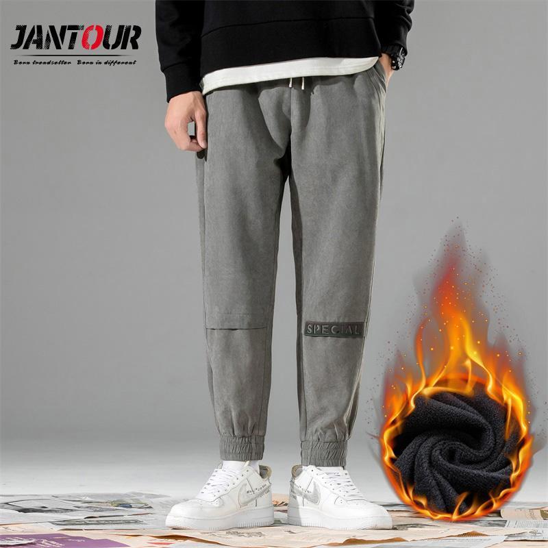 겨울 양털 남자 하렘 바지 느슨한 맞는 조깅 스웨트 팬츠 Appliques Streetwear 패션 편지 따뜻한 바지 남성 4XL