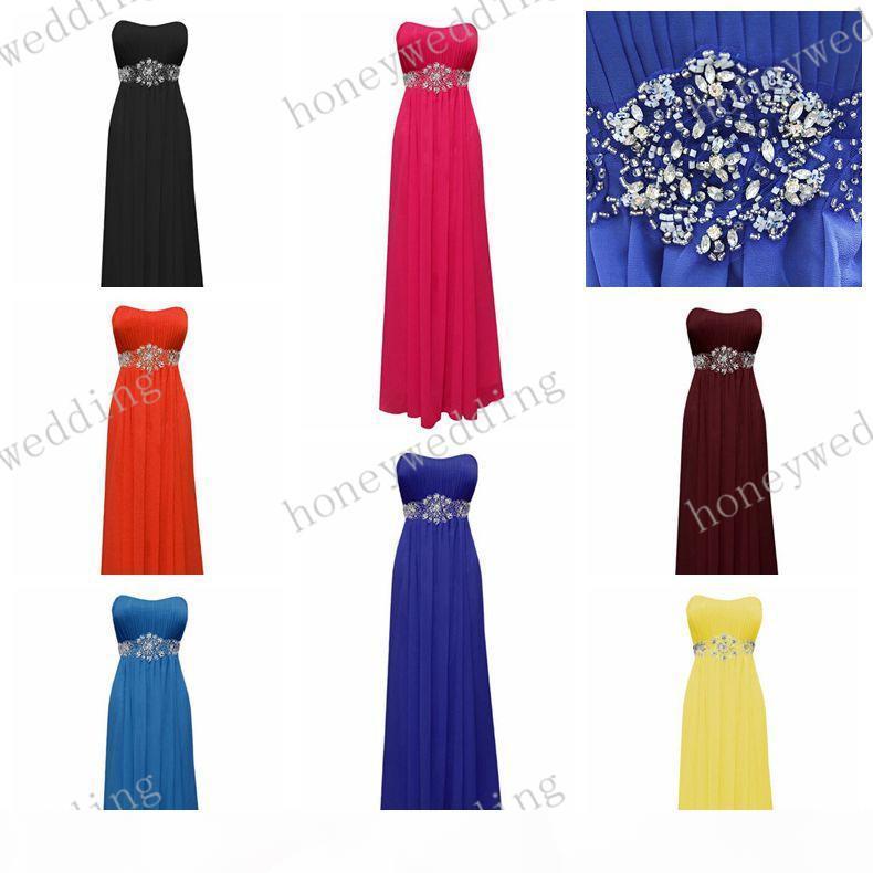 Bridesmaid Dresses Cheap 14 Colors Beads Sash Chiffon Bridesmaids Dresses Royal Blue Coral Purple Wedding Fromal Dresses