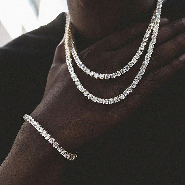 Miss Jewelry Custom 925 Sterling Silver Necklace 4mm Mens CZ Diamond Iced Out Tennis Chain