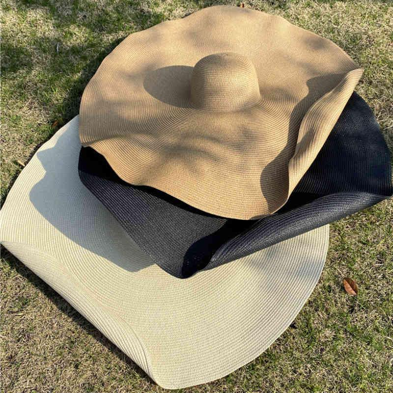 HT3183 اضافية كبيرة كبيرة بريم قبعة المرأة الصيف الشمس قبة قابلة للحزم الصلبة سترو شاطئ الإناث الظل المرن