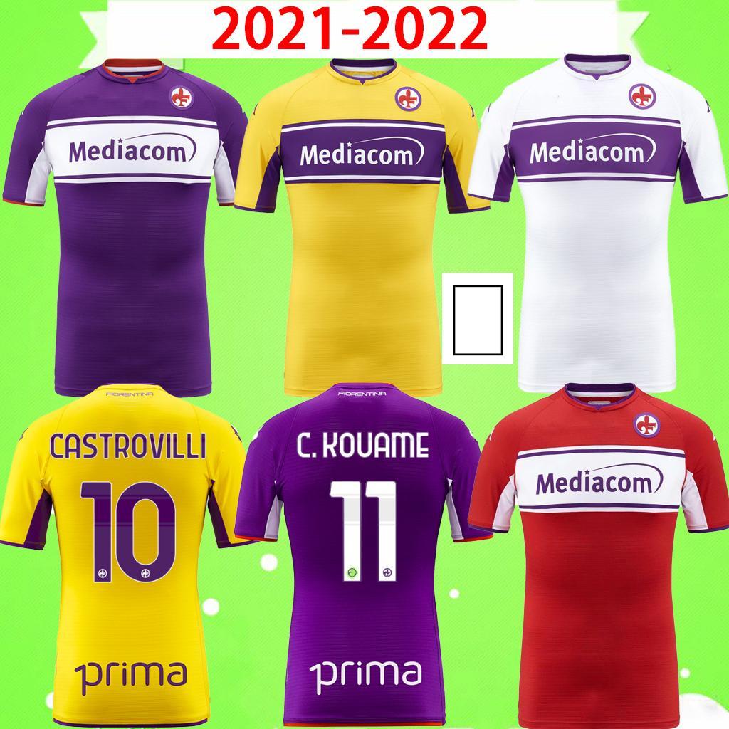 2021 2022 فيورنتينا لكرة القدم الفانيلة Firenze 21 22 قميص كرة القدم Biraghi Milenkovlc Vlahovlc Castrovilli C. Kouame Erick Igor Maglia da Calcio الصفحة الرئيسية الثالثة الرابعة