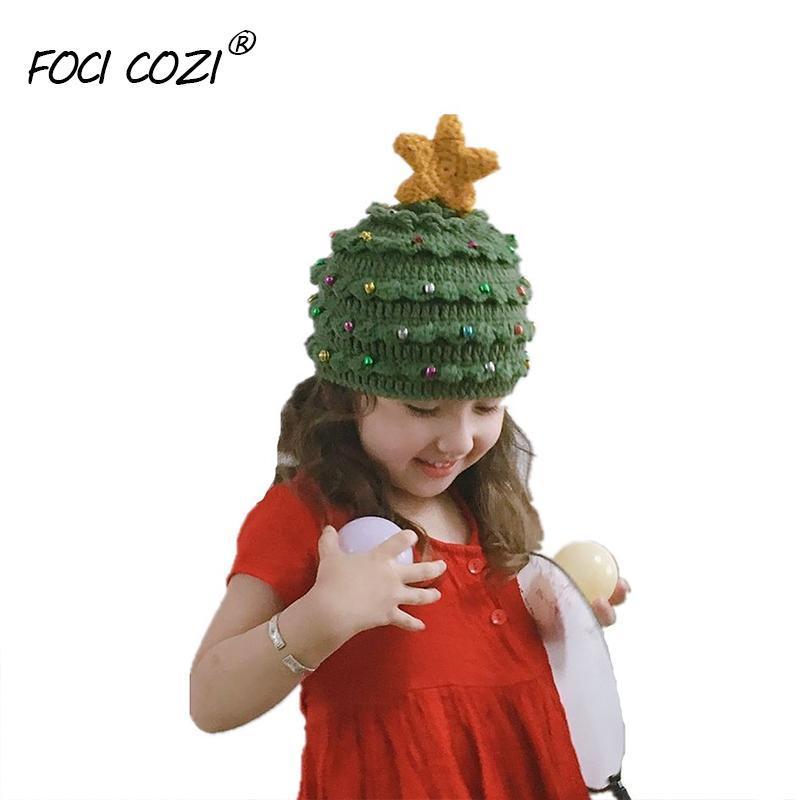 한 사이즈 엄마 딸 모자 겨울 니트 모자 여성 및 소녀 아기 크리스마스 트리 크로 셰 뜨개질 니트 순 록 모자 녹색 니트 모자