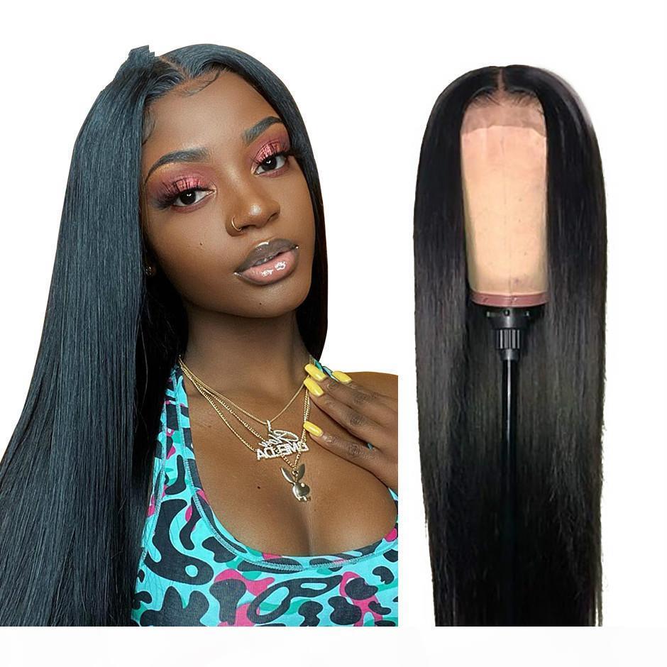 Pelucas rectas de Malasia para mujeres 180% Densidad 4x4 Cierre de encaje Peluca de encaje recto Pelucas de cabello humano