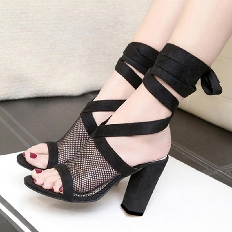202 style women sandals shoes Summer Sexy Bandage High Heel Thick fashion lace-up Women's size 36-43