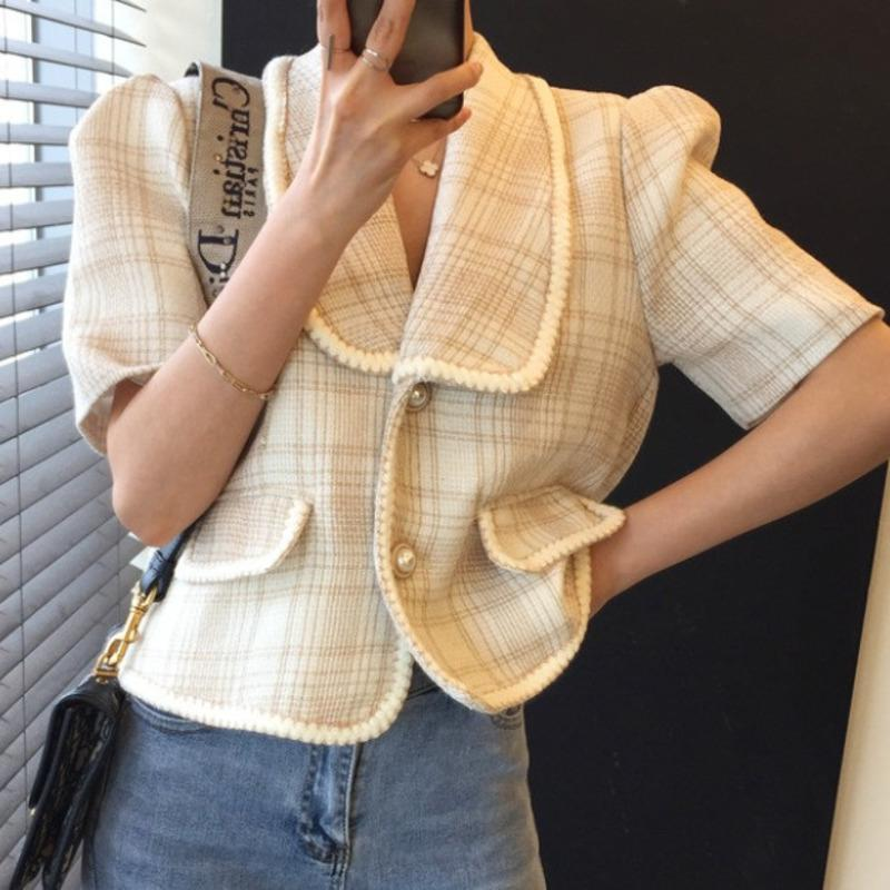Vintage Kadın Ceket 2021 Yaz Kore Chic Kırpma Üst Bayanlar Retro Ekose Hırka Ince Tüvit Ceketler Ceket Kadın Yün Dış Giyim Kadın