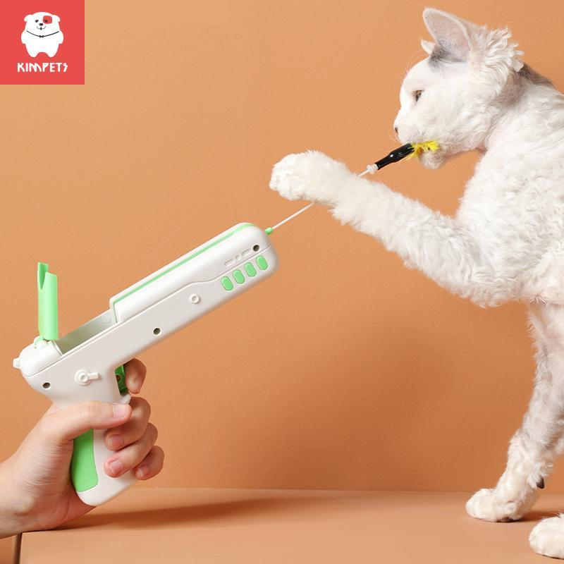 Plastic Feather Teases Cat Safe ABS Material Pet Interactive Creative Replaceable Gun Toy Toys
