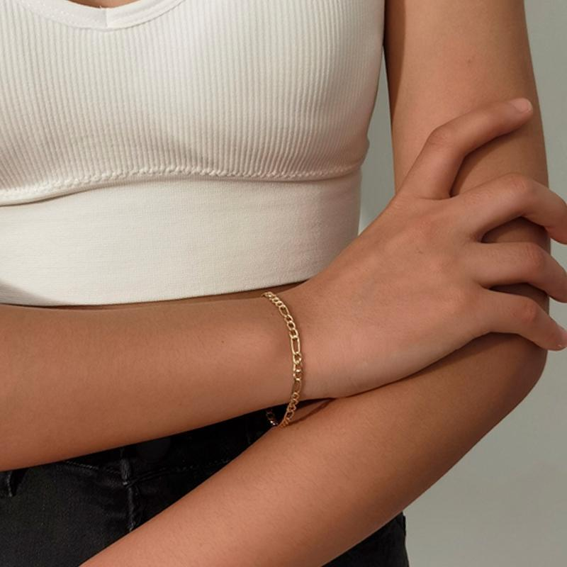 Classic Paperclip Chain Bracelet Golden Stainless Steel Rectangular Link Cable Exquisite Female Girl Layered Jewelry Link,