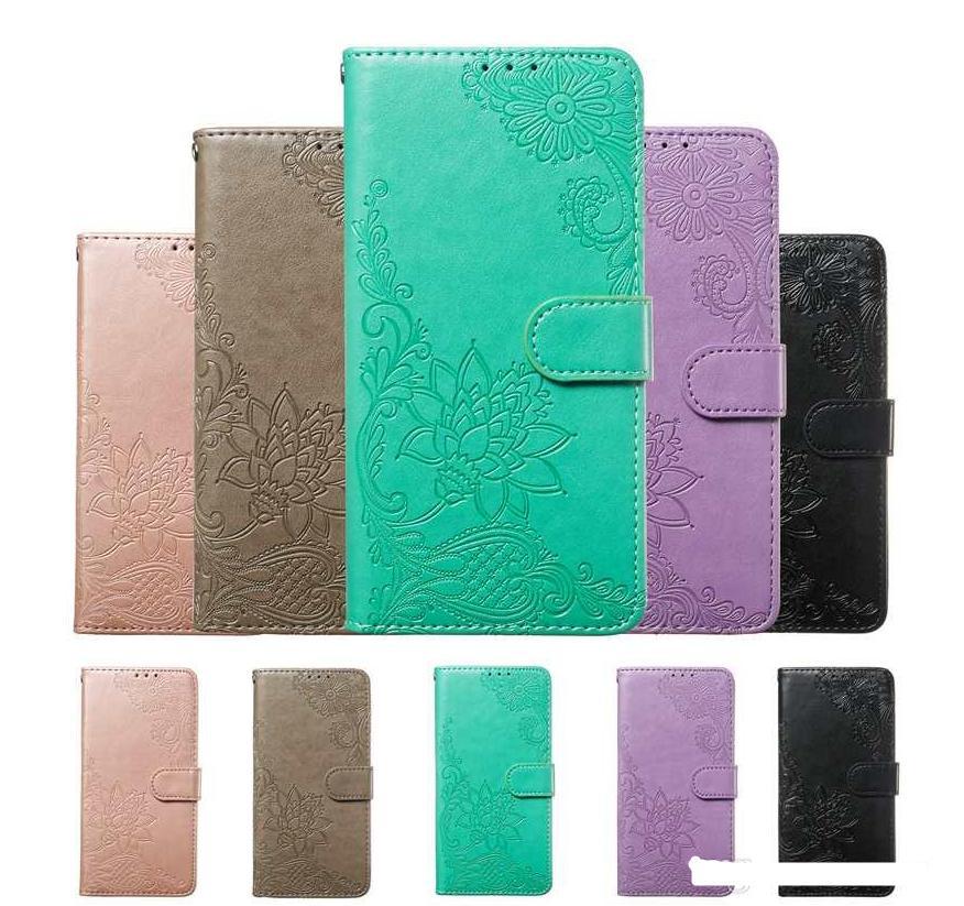 Casos de carteira de couro para Samsung A70 A60 A50 A30 A20 A10 A10 A20E M40 M20 M10 Imprint Flower Card Card Slot Renda Flip Cobertura Titular Luxo
