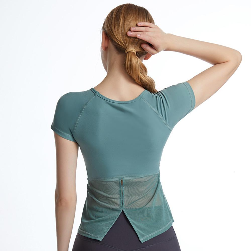 Lulu same Yoga short sleeve top round neck slim fashion sexy fitness suit sports T-shirt with bra