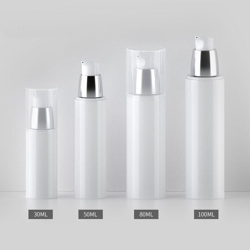 Lagerflaschen Gläser 30ml 50ml 80 ml 100ml Weiß Kosmetische Creme Container Leer Lotion Pumpe Airless Flasche Makeup Emulsion Nachfüllablage Vacu