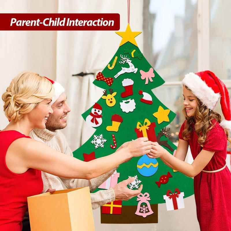 Christmas Decorations Felt Tree Kids Toddlers Wall Decor Xmas Gifts Year Home Door Hanging DIY Soft With 30pcs Ornaments