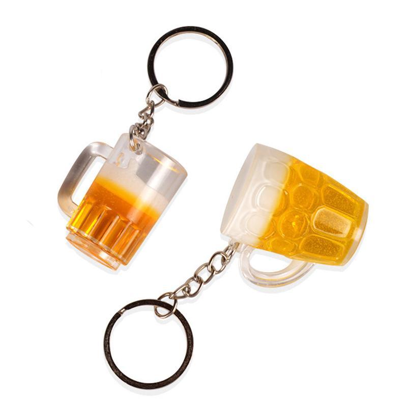 البيرة الإبداعية القدح المفاتيح قلادة محاكاة البهلوانات مستقيم كأس الحلي الأمتعة الديكور شخصية هدية حلقة رئيسية