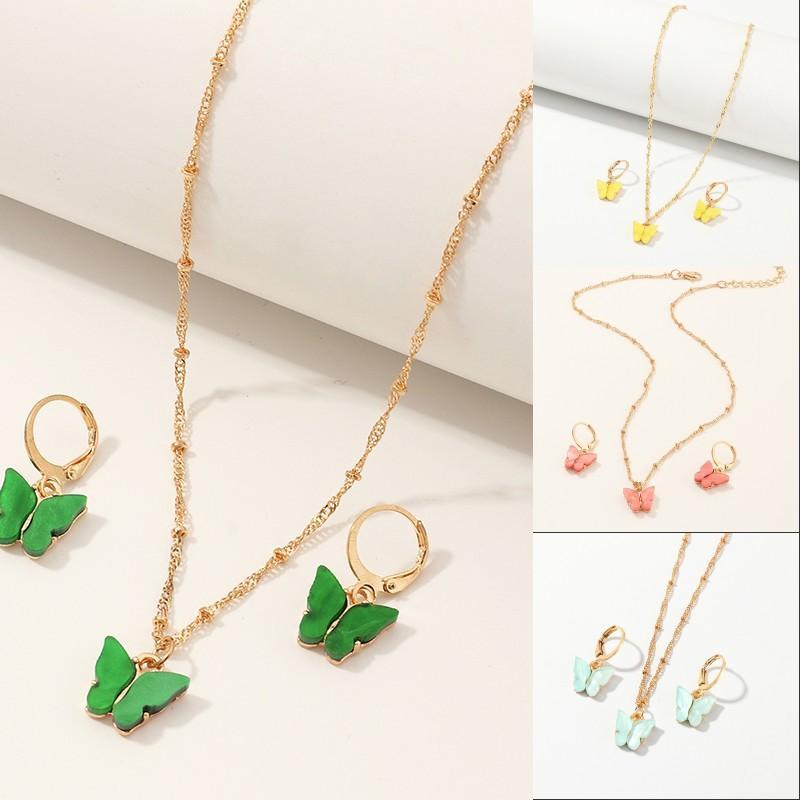 Colares de pingente de borboleta e brincos para mulheres meninas moda rosa ouro colar elegante gargantilha moda doce conjuntos de jóias presente 16 w2