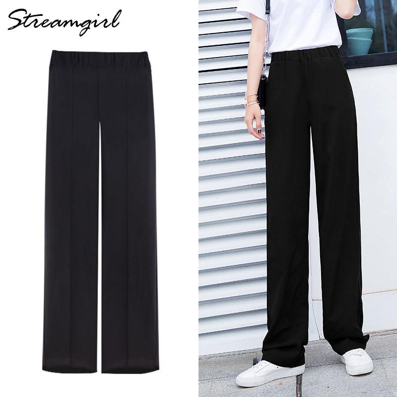 Streamgirl Şifon Geniş Bacak Pantolon Yaz Tam Boy Kadınlar Ince Yüksek Bel Siyah Geniş Çalışma Pantolon Kadınlar Için Ofis Pantolon Artı Boyutu 210421