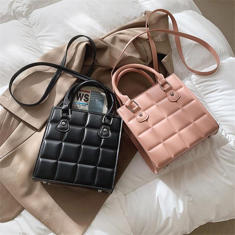 PB0015 패션 여성용 체크 무늬 서류 가방 어깨 가방 스퀘어 핸드백 PU 가죽 메신저 가방 레드 카키 블랙 핑크 커피 5colors