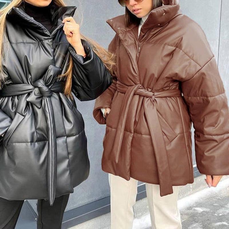 agong collected waisted parkas 여성 패션 스탠드 칼라 코트 우아한 간단한 넥타이 벨트 PU 코튼 자켓 여성 숙녀 여성 여성의 다운
