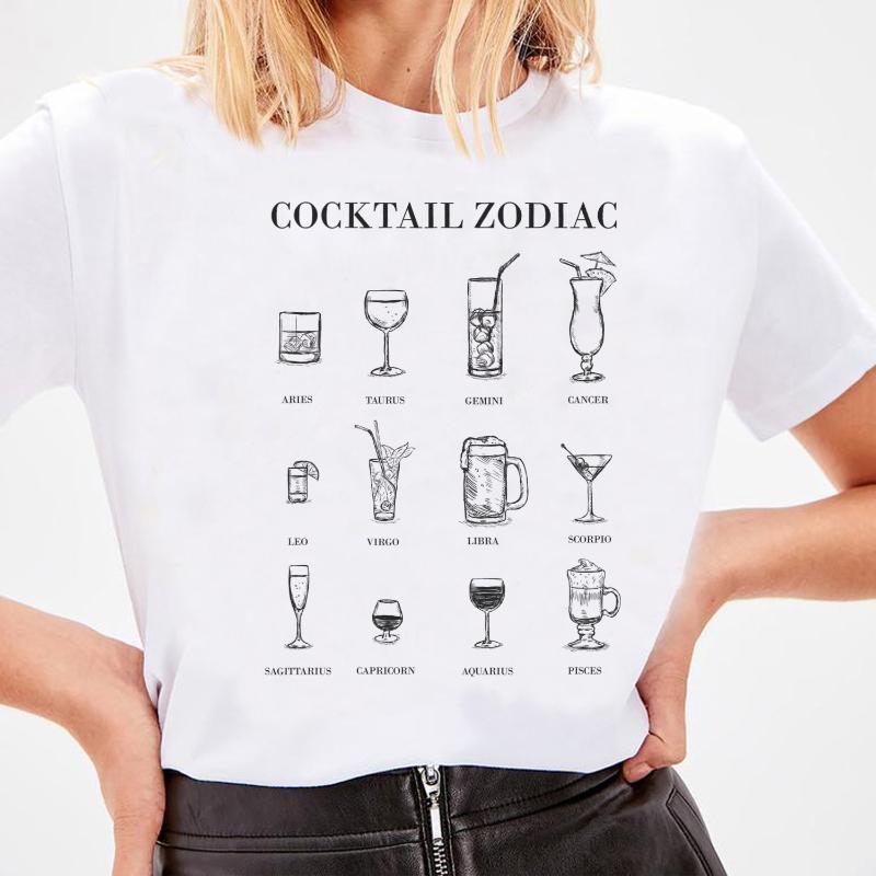 Kokteyl Zodyak Kadınlar Komik T Shirt Hipster Alkol Gömlek Sevimli Bayanlar Grafik Tees Femme T-Shirt Estetik Giyim Kadın T-Shirt Tops