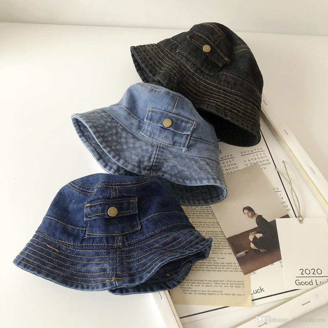Free DHL INS Baby Kids Denim Cap with Pocket Sunhat Summer UV Protection Sunscreen Hat Foldable Bucket Fisherman Hats