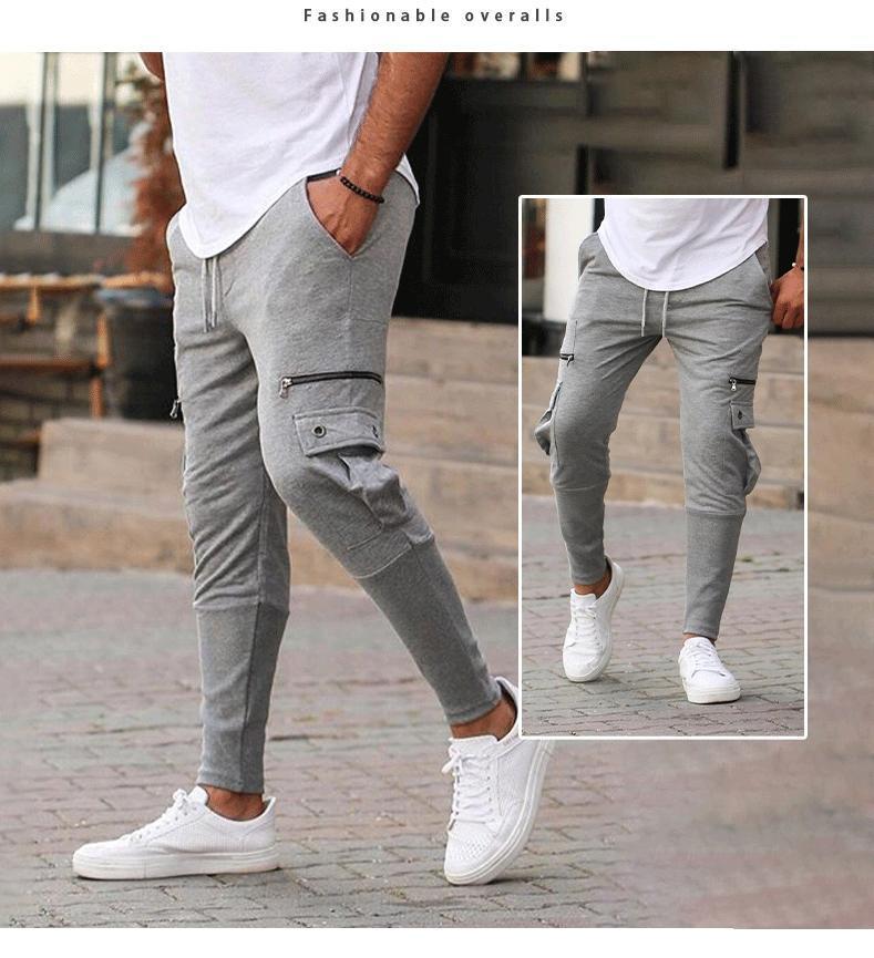 남성용 멀티 포켓화물 바지 캐주얼 스웨트 팬츠 단단한 바지 남자 조깅하는 고품질 패션 streetwear