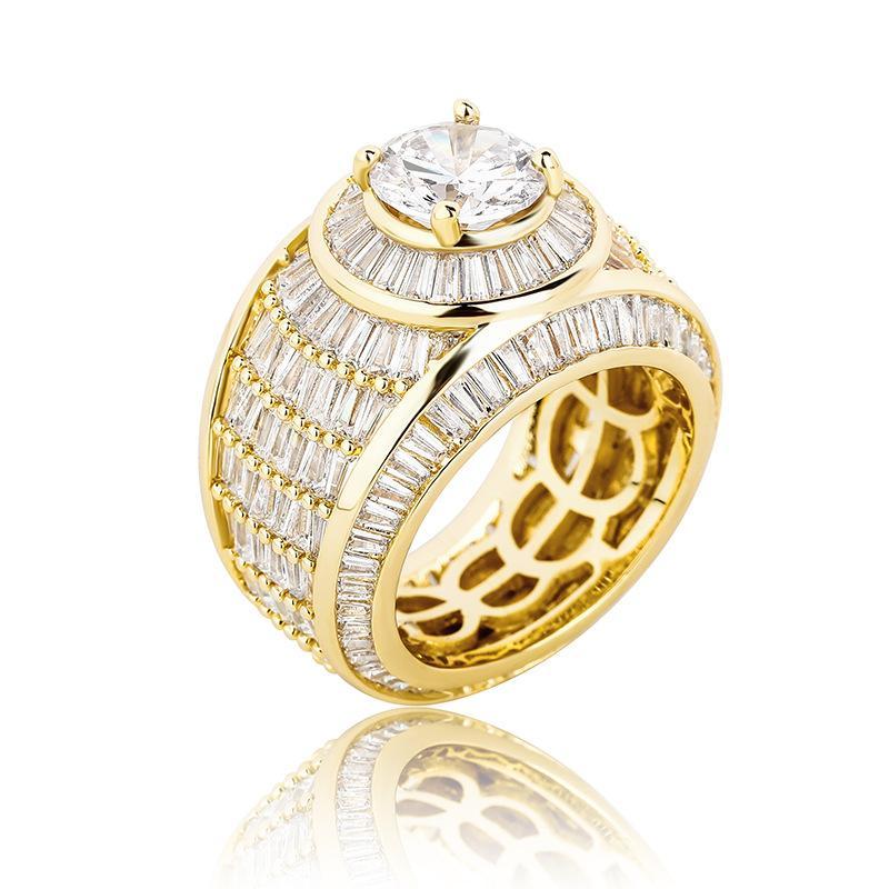 Cuivre en cristal complet avec pierres de côté Anneaux de pierres de côté Bling glacé sortis cubique zircon hip hop bague de fiançailles pour hommes femmes doré / argent accessoires couleur bijoux cadeaux