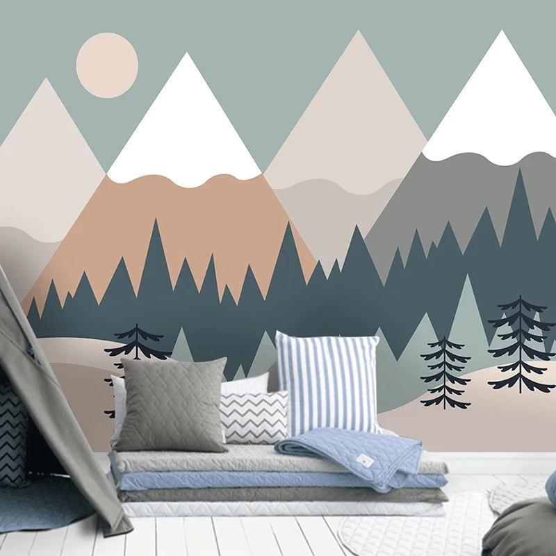 Custom 3D Self Adhesive Wallpaper Hand Painted Tree Mountain Cartoon Children Room Bedroom Background Modern Mural Waterproof Wallpapers