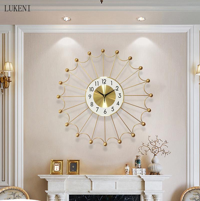 Nordico luce di lusso in metallo soggiorno camera da letto orologio da parete stile cinese decorazione della stanza orologio da parete orologio da parete 24 pollici orologio da parete creativo