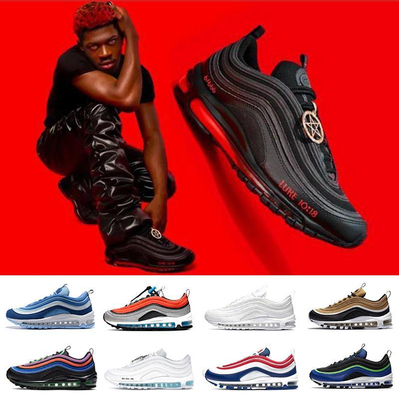 حذاء رياضي رجالي من nike air max 97 airmax mschf Lil Nas x Satan Luke inri jesus 97 حذاء رياضي ثلاثي أسود أبيض معدني ذهبي جامعة أحمر 97s غير مهزوم للرجال والنساء