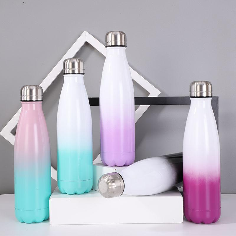 17oz Gradient Water Bottle Double Wall Insulated Cola Cans Metal Sports Tumblers With Beautiful Sparkle Coating