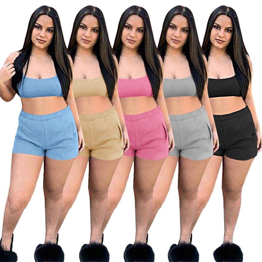 Due pezzi Tracksuits Summer Shorts Set Designer Donne Abbigliamento Abbigliamento Spaghetti Strap Set Vest Ricamo Logo Black Yoga Sportswear Abiti da jogging Abiti moda S-2XL 5074