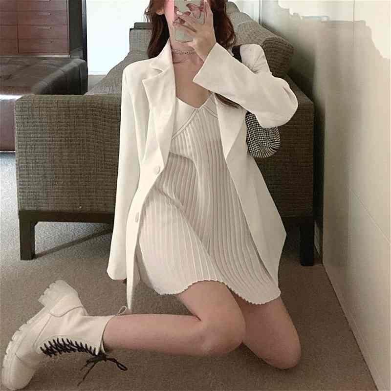 2 pezzi set donna autunno autunno scollo a V spaghetti cinturino mini abito + casual blazer bianchi y2k set vestito moda festa party abbigliamento coreano 210409