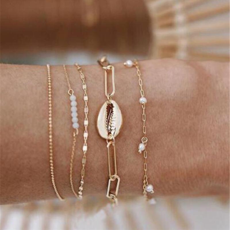 Link, Chain 5PCS Women Bracelets Set Multilayer Metal Shell Beads Gold Chains Boho Bracelet Femme Antique Beach Anklet Jewelry Accessories