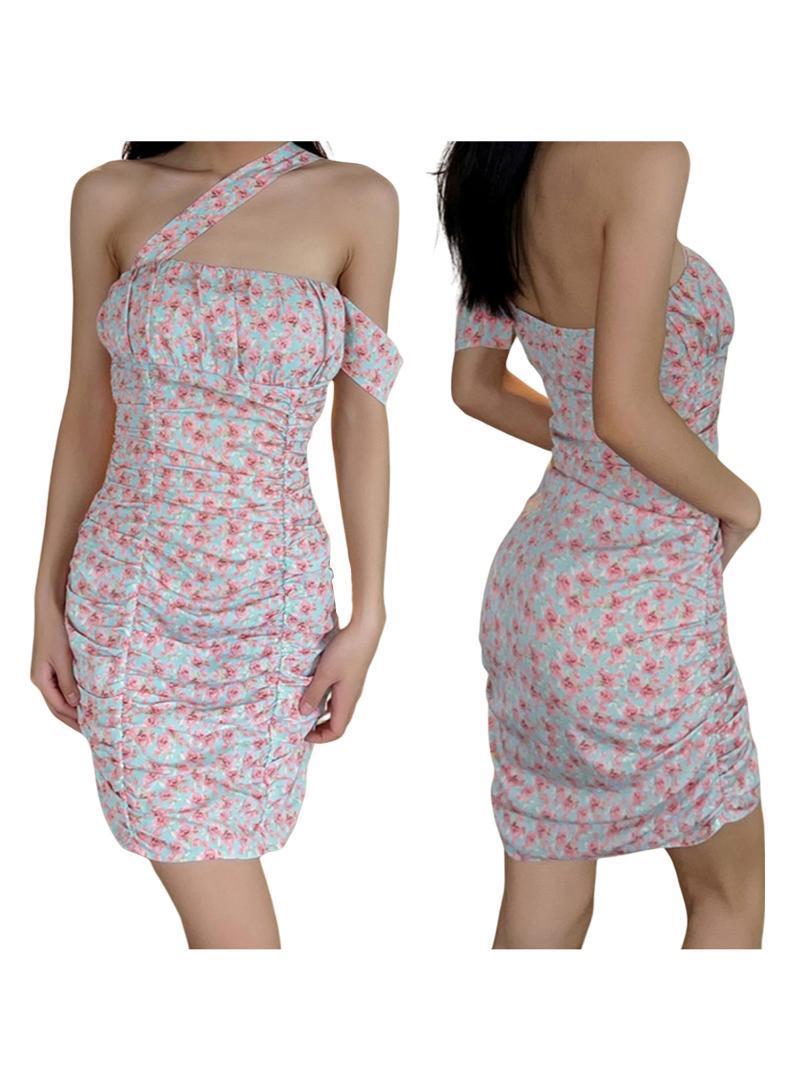 Swimwear feminino vestido feminino impressão floral inclinado ombro manga curta ruffled para o verão