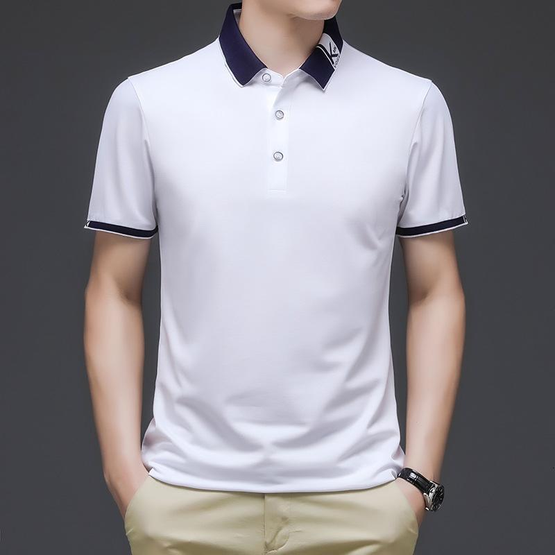 Polos Kurzarm Junger und mittlerer Alter BESCHÄFTSFORMULAR-ROPEL Dünne Baumwolle Lose T-Shirt Sommer Herren Poloshirt