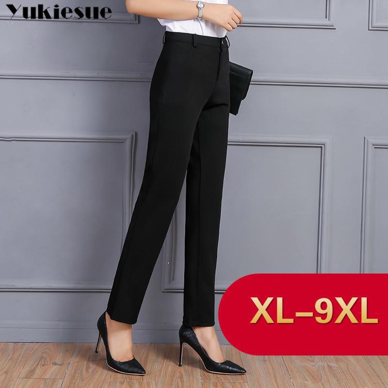 striughthose für frauen mit hoher taille ol office workwear dünne formale schwarze anzug hosen weibliche hosen plus größe 8xl 9xl 210412
