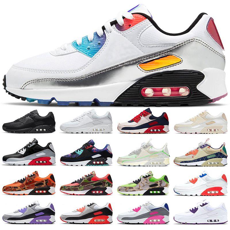 air max 90 zapatillas para correr zapatillas para hombre triple negro blanco azul gris 90s superficie transpirable hombres mujeres zapatillas deportivas tamaño 36-45
