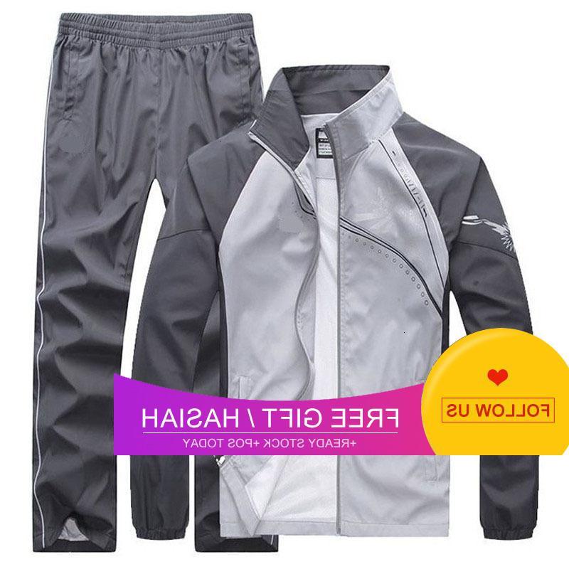 Yeni erkek Bahar Sonbahar Erkekler Spor 2 Parça Set Spor Takım Elbise Ceket + Pantolon Eşofman Erkek Giyim Eşofman Boyutu 5XL