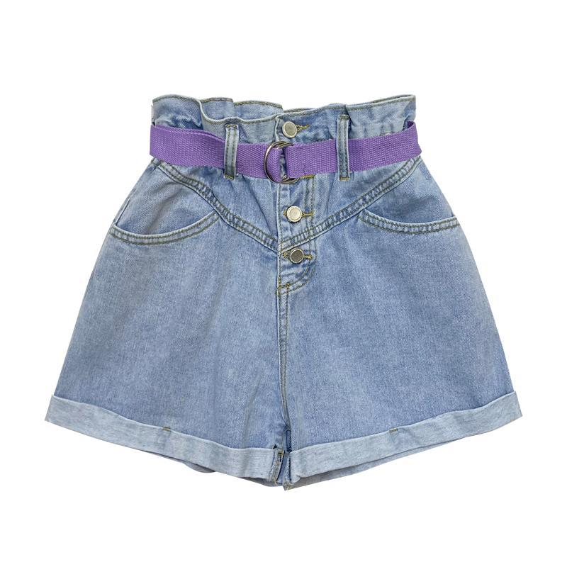 Женские джинсы Джинсовые шорты для женщин 2021 летняя винтажная стирка Свободная высокая талия широкая нога обжимные брюки + пояс