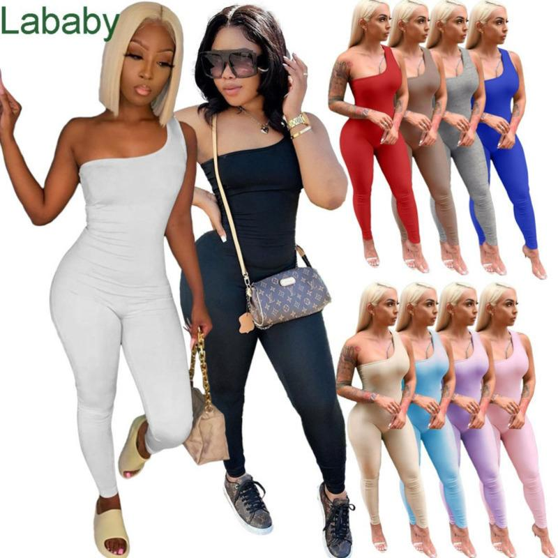 Women Jumpsuits Designer Spring And Summer Clothes Season Women Sexy One Shoulder Sleeveless Hip Lifting Onesies Sports Rompers