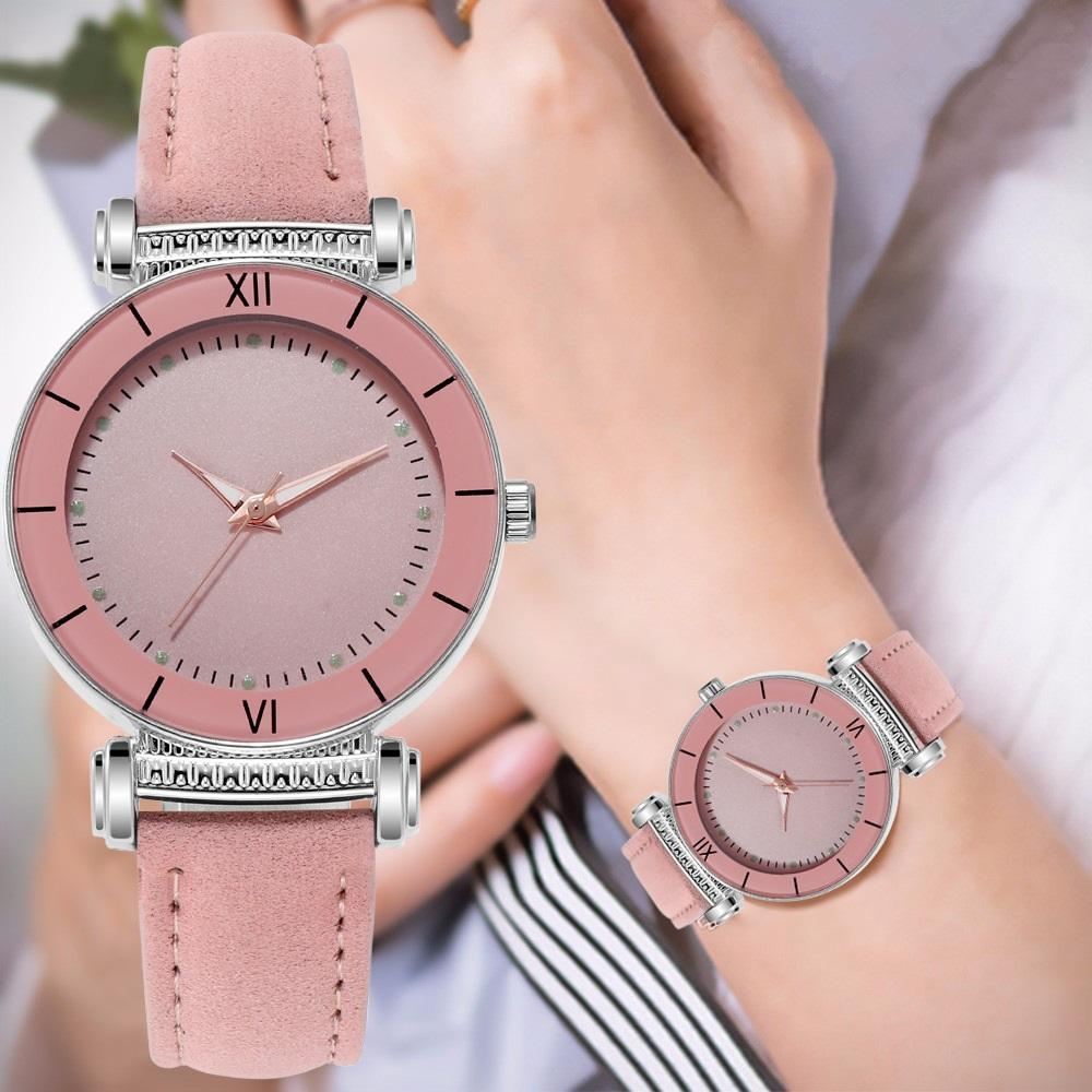 Großhandel frosting roma einfache leder quarz dress armbanduhren mode frauen damen studenten geschenk armbanduhren uhr