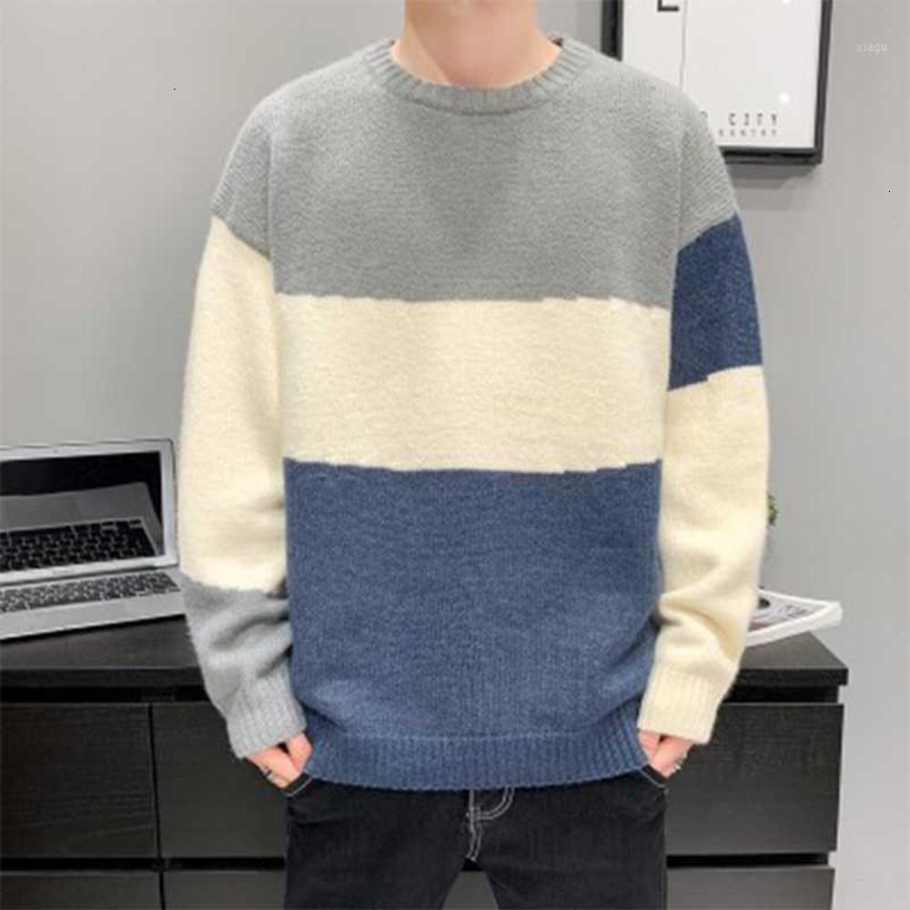 2020 Sonbahar Kış Yeni erkek Kazak Rahat Sıcak O-Boyun Kazak Boy Erkekler Moda Gevşek Kore Giysileri 3XL Yüksek Kalite1