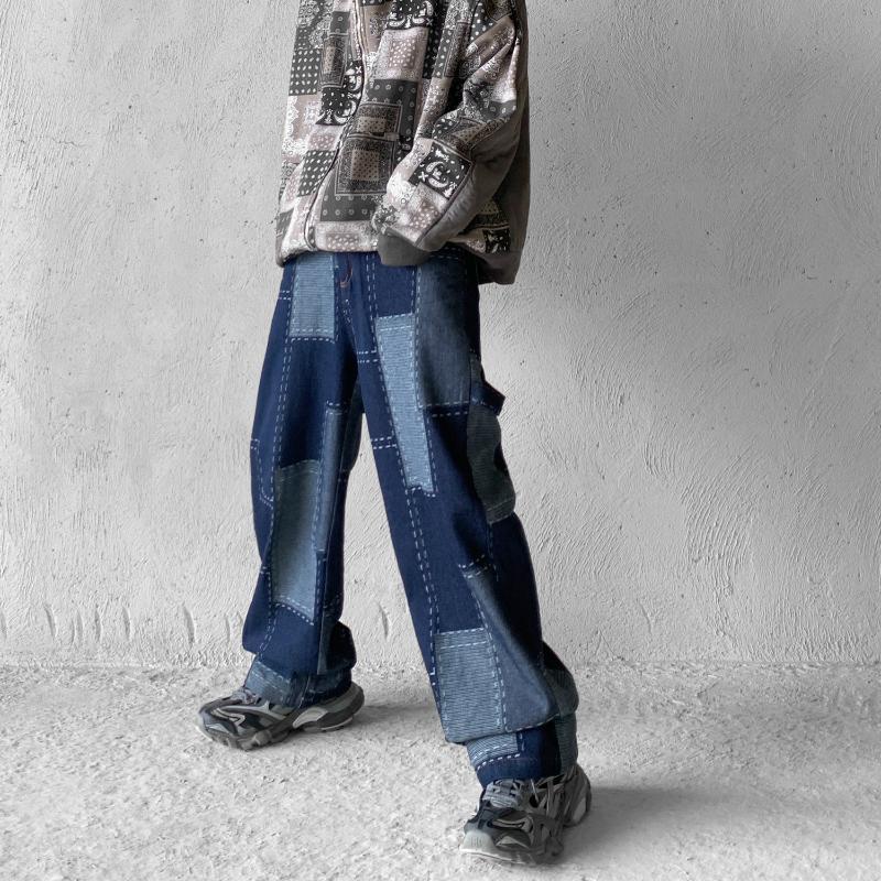 Jeans Masculinos Vintage Costura Loose Calça Reta Calças Patchwork Hip Hop Angustiado Designer 20325